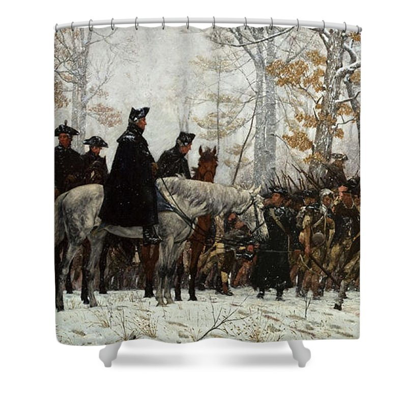 March Shower Curtain Featuring The Painting The March To Valley Forge By  William Trego