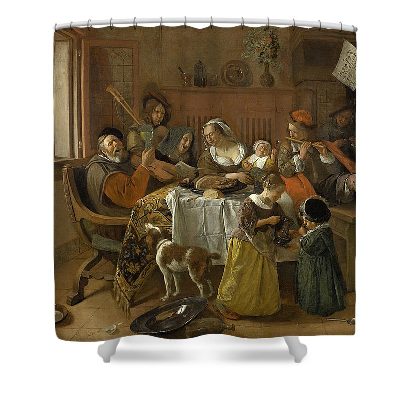 Animal Shower Curtain featuring the painting The Merry Family by Jan Steen