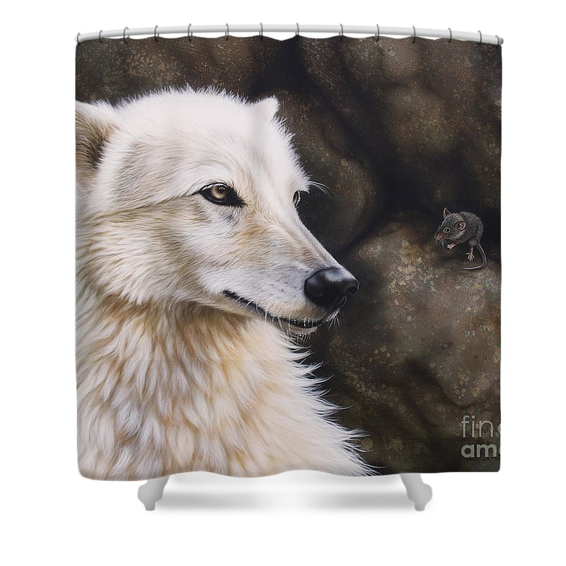 Acrylic Shower Curtain featuring the painting The Mouse by Sandi Baker