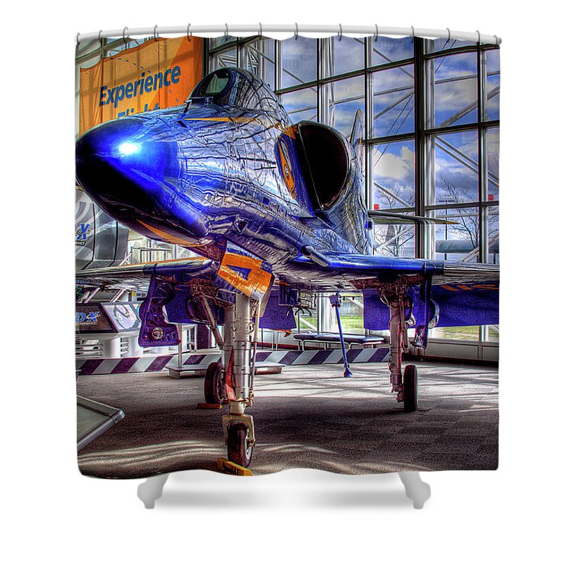 The Navy's Blue Angel Shower Curtain featuring the photograph The Navy's Blue Angel by David Patterson