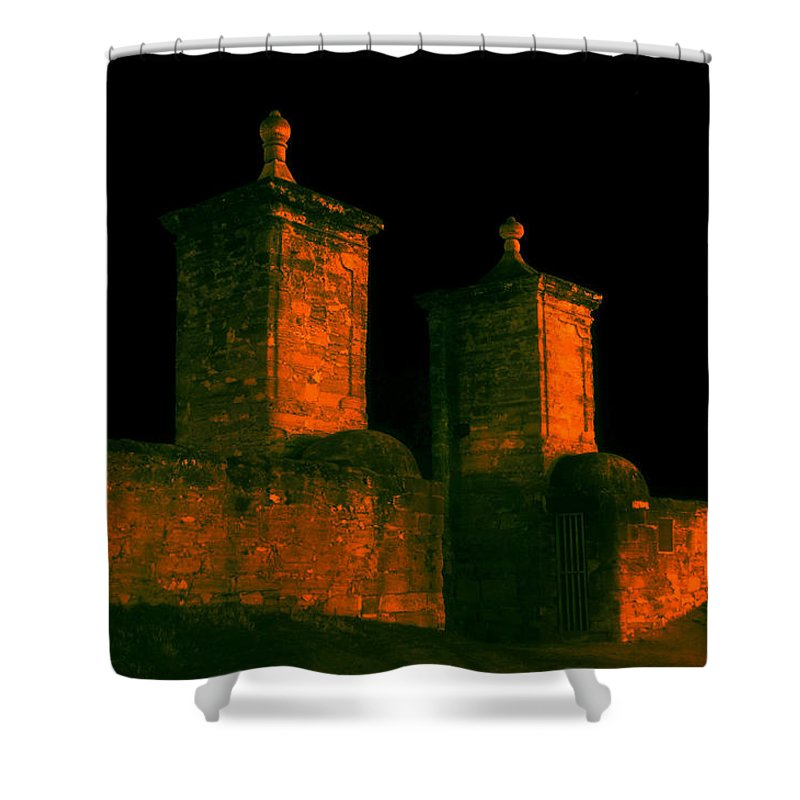 St. Augustine Florida Shower Curtain featuring the photograph The Old City Gates by David Lee Thompson