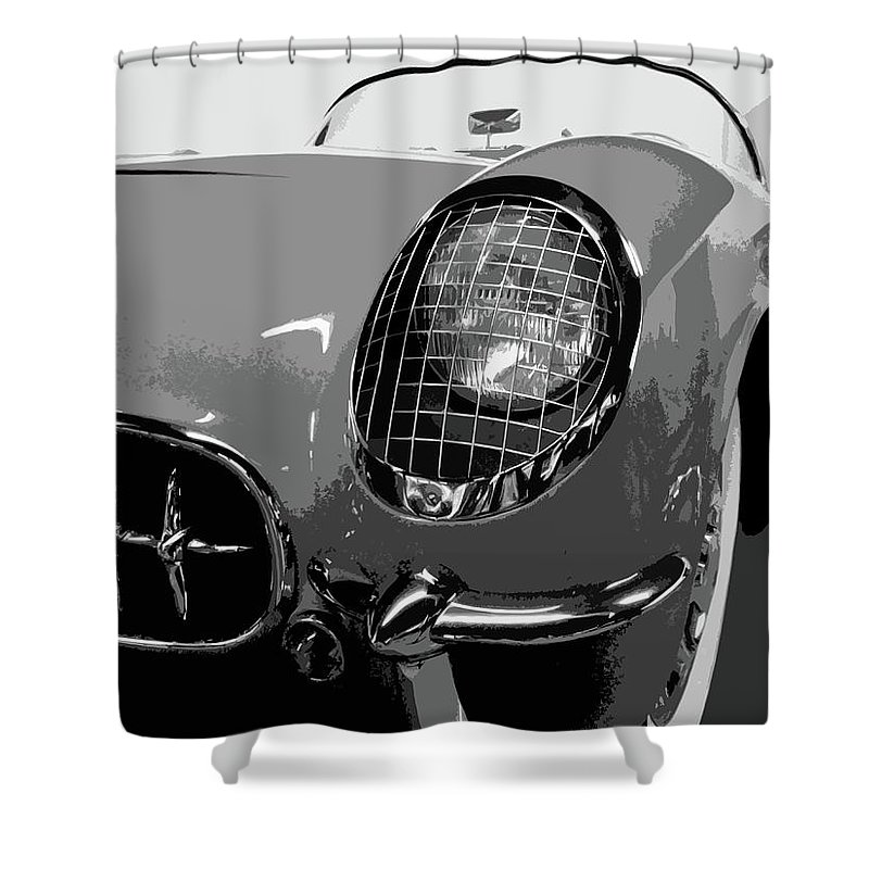 Autos Shower Curtain featuring the photograph The Original Vette by Dick Goodman