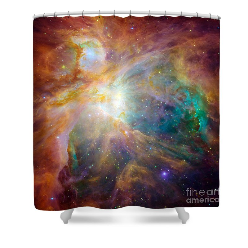 Square Image Shower Curtain featuring the photograph The Orion Nebula by Stocktrek Images