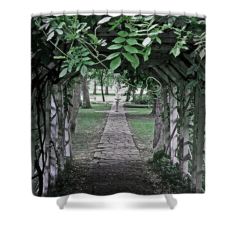Trellis Shower Curtain featuring the photograph The Other Side by Donna Shahan