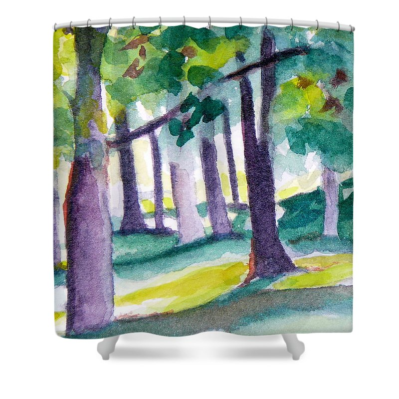 Nature Shower Curtain featuring the painting The Perfect Day by Jan Bennicoff