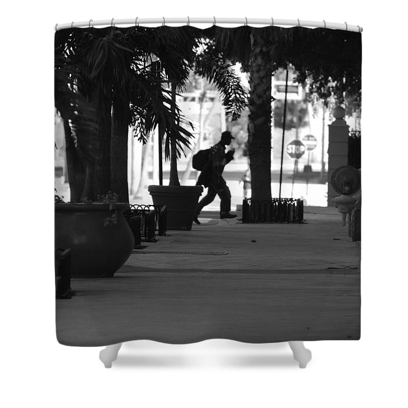 Street Scene Shower Curtain featuring the photograph The Post Man by Rob Hans