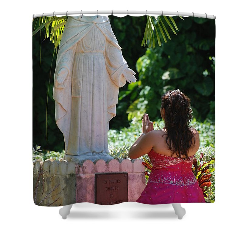 Portrait Shower Curtain featuring the photograph The Praying Princess by Rob Hans