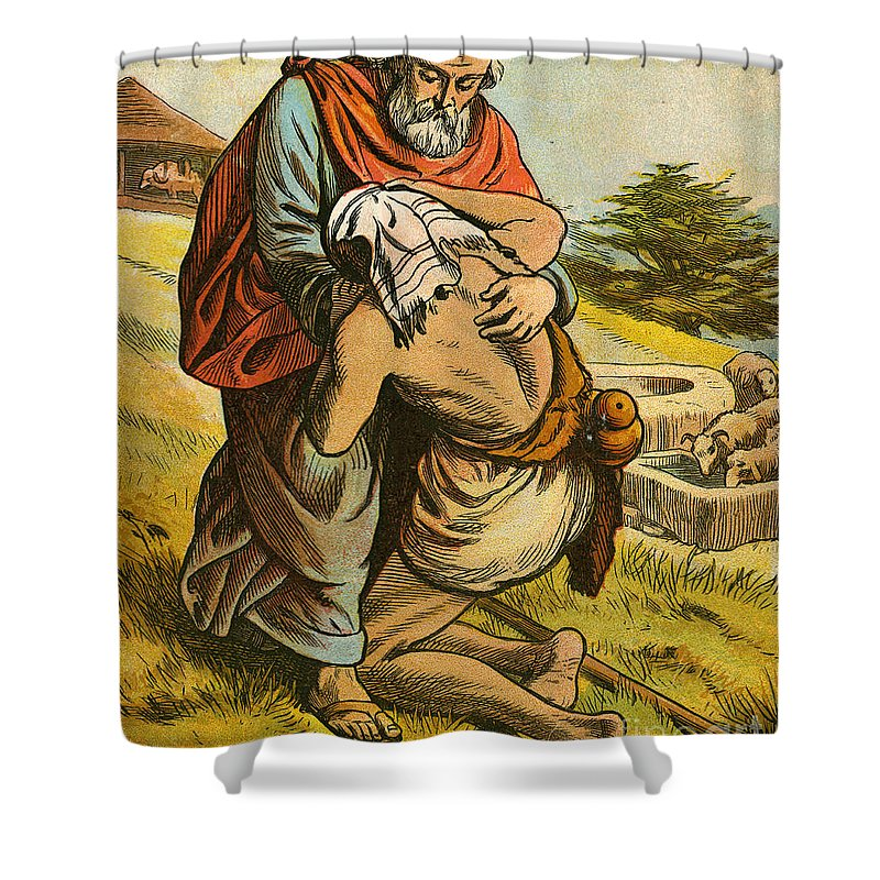 Prodigal Shower Curtain featuring the painting The Prodigal Son by English School