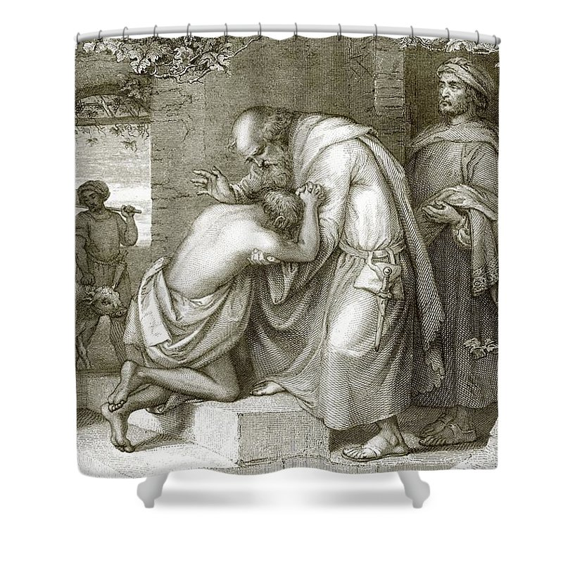 Prodigal Shower Curtain featuring the drawing The Prodigal's Return by English School