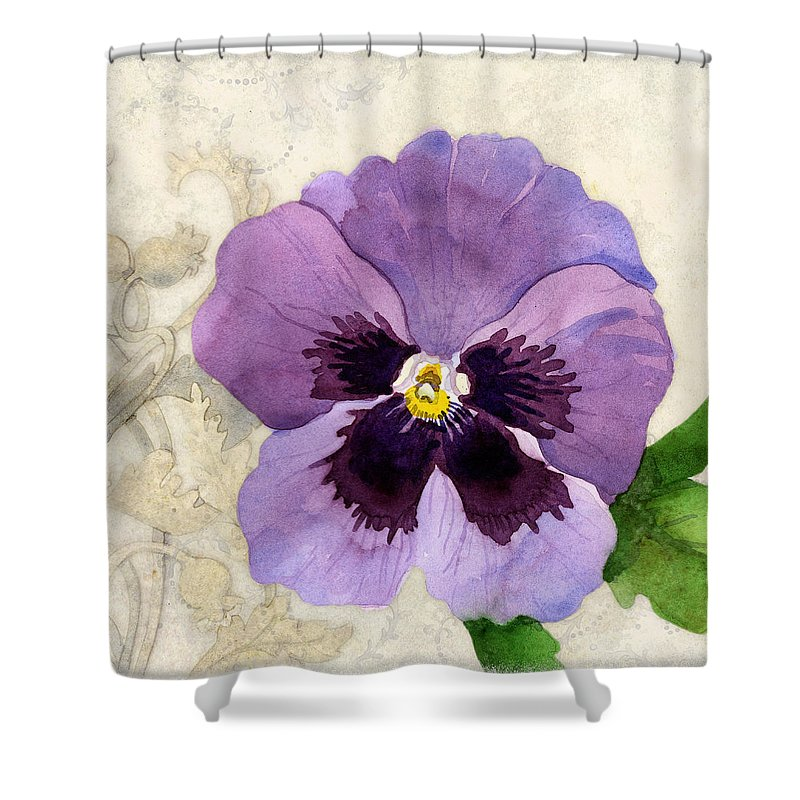 Pansy Shower Curtain Featuring The Painting Promise Of Spring