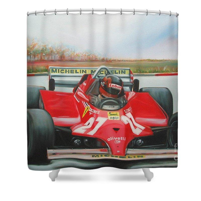Race Shower Curtain featuring the painting The Racing Car by Sukalya Chearanantana