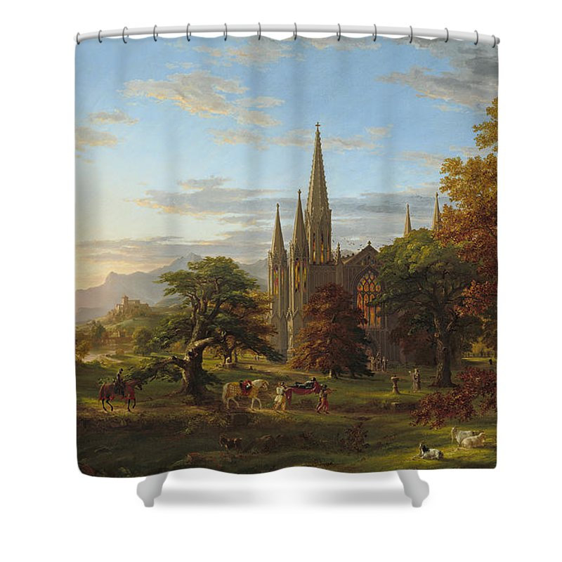 Art Shower Curtain featuring the painting The Return by Thomas Cole