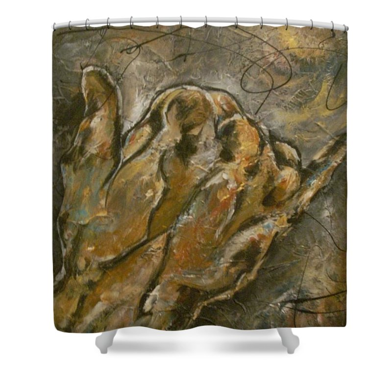 Hand Shower Curtain featuring the painting The Salute by Hasaan Kirkland