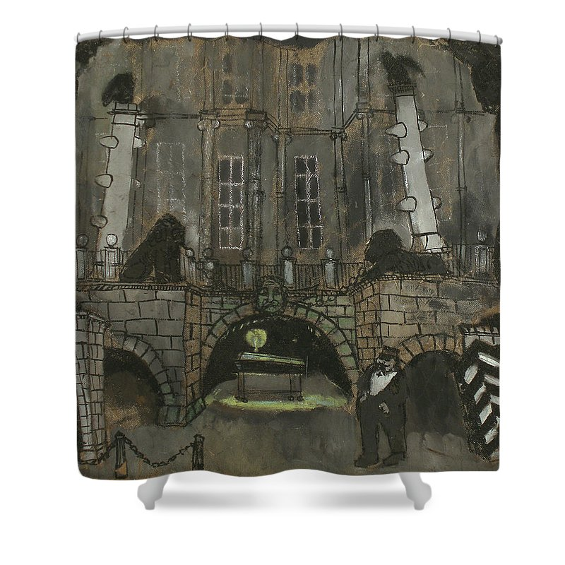 Performance Shower Curtain featuring the painting Tarelkin's Death by Robert Nizamov