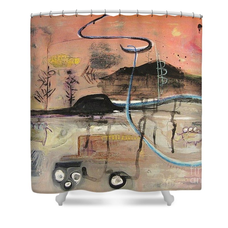 Acrylic Paper Canvas Abstract Contemporary Landscape Dusk Twilight Countryside Shower Curtain featuring the painting The Tempo Of A Day by Seon-Jeong Kim