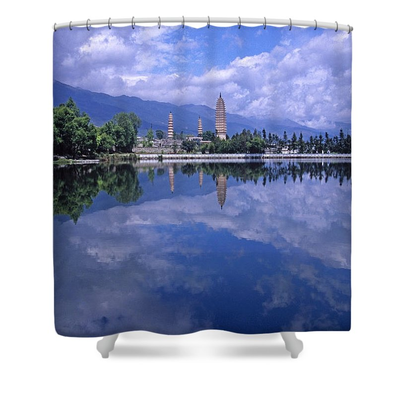 Pagoda Shower Curtain featuring the photograph The Three Pagodas Of Dali by Michele Burgess
