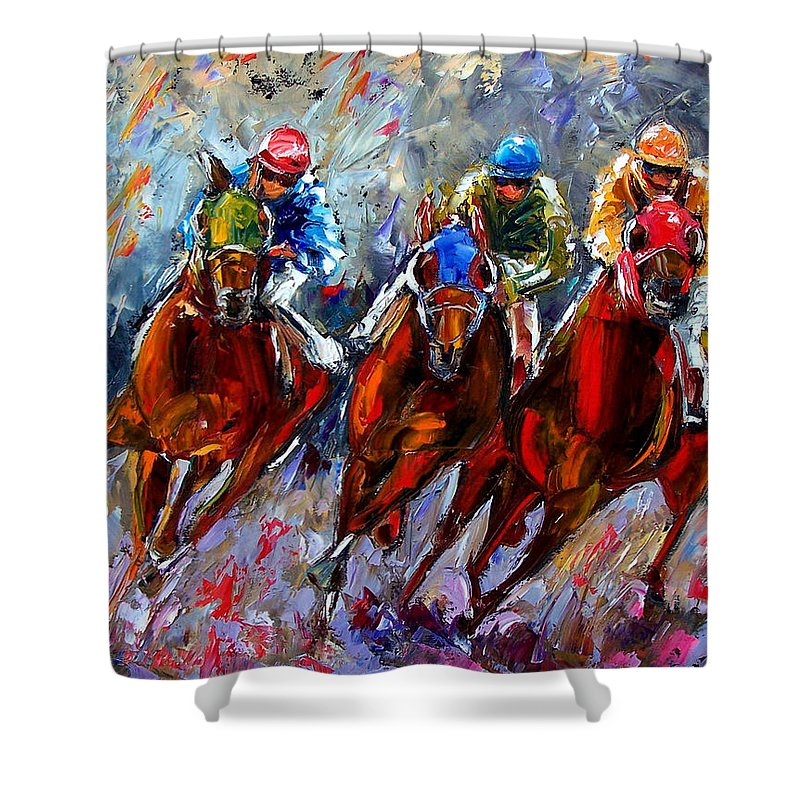 Horse Race Shower Curtain featuring the painting The Turn by Debra Hurd