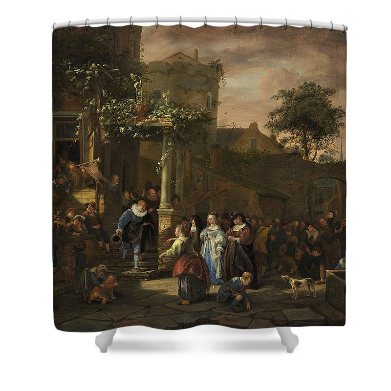 Animal Shower Curtain featuring the painting The Village Wedding by Jan Steen