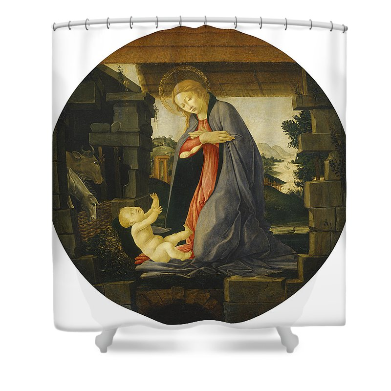 Sandro Botticelli Shower Curtain featuring the painting The Virgin Adoring The Child by Sandro Botticelli