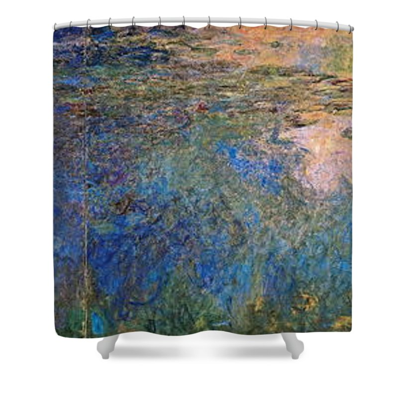 Water Shower Curtain featuring the painting The Water Lily Pond 1914 1917 by Claude Monet