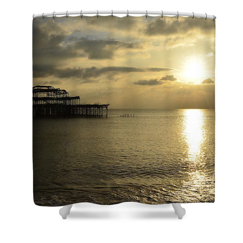 West Pier Shower Curtain featuring the photograph The West Pier by Smart Aviation