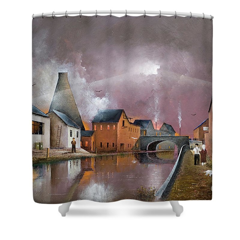 England Shower Curtain featuring the painting The Wordsley Cone by Ken Wood