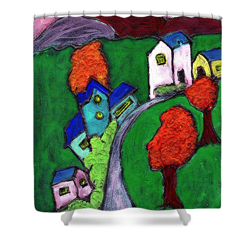 Whimsical Shower Curtain featuring the painting There Was A Crooked House by Wayne Potrafka