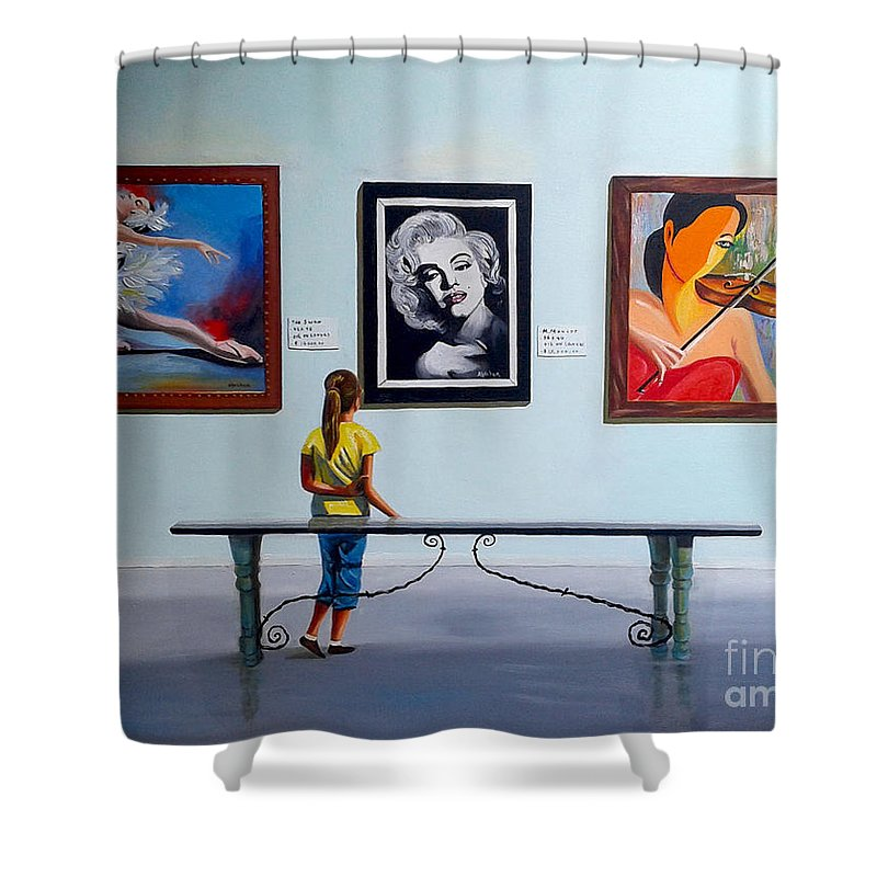 Dancing Shower Curtain featuring the painting I want to be by Jose Manuel Abraham