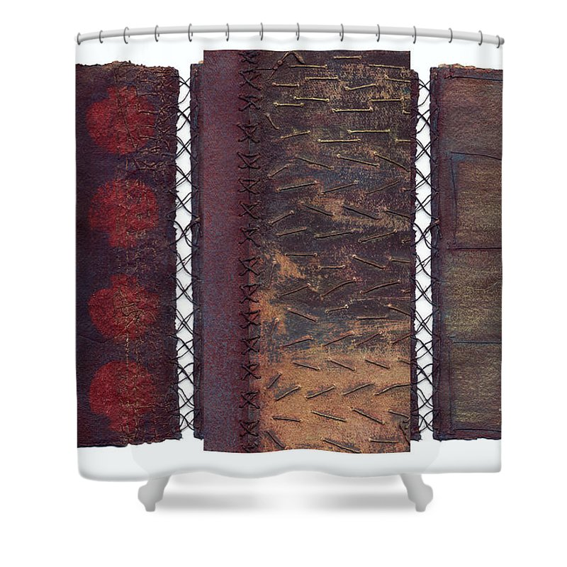 3panel Shower Curtain featuring the painting Three Panel Transitional Page Format by Kerryn Madsen- Pietsch