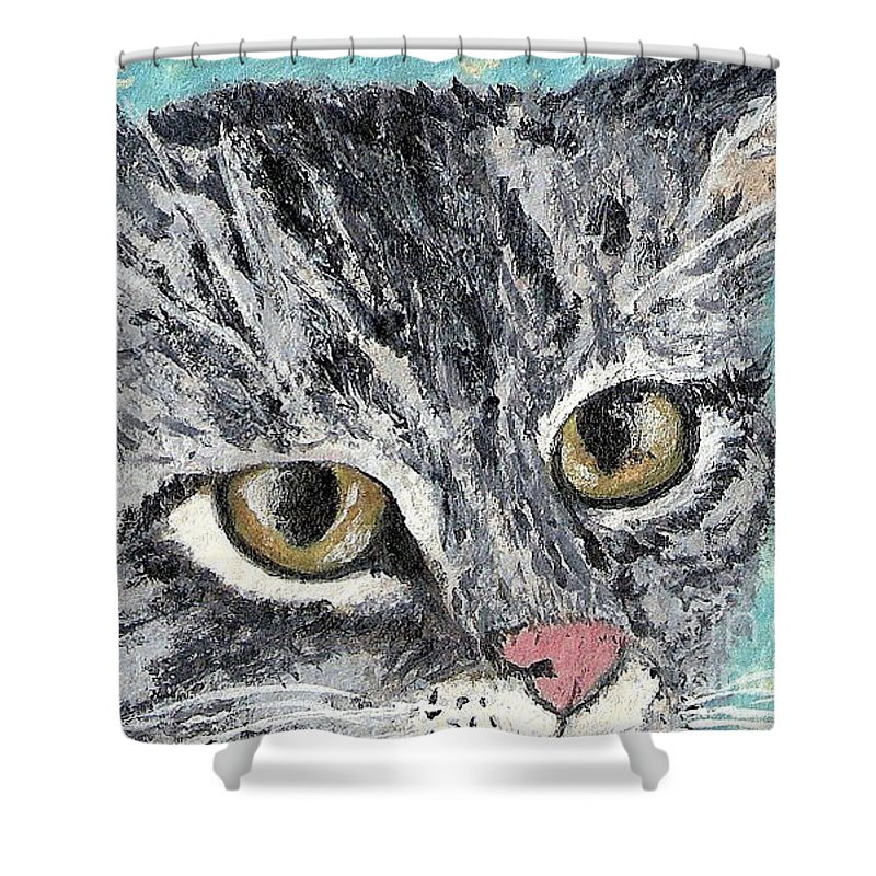 Cats Shower Curtain featuring the painting Tiger Cat by Reina Resto