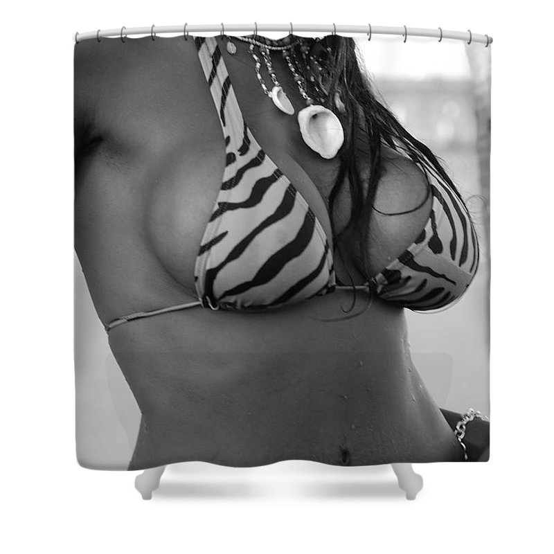 Black And White Shower Curtain featuring the photograph Tiger Strips by Rob Hans