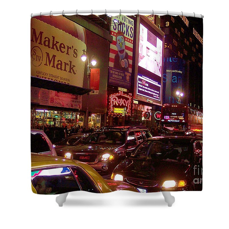 New York Shower Curtain featuring the photograph Times Square Night by Debbi Granruth