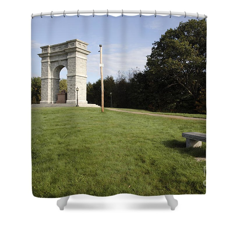 Granite Shower Curtain featuring the photograph Titus Arch Replica - Northfield Nh Usa by Erin Paul Donovan