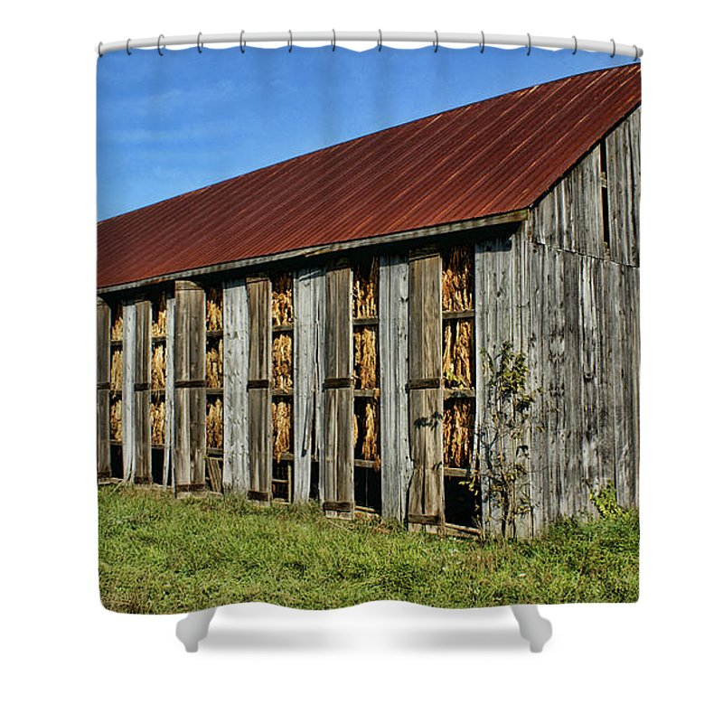 Barn. Tobacco Shower Curtain featuring the photograph Tobacco Barn by Bob Welch