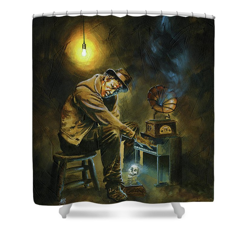 Tom Waits Shower Curtain featuring the painting Tom Waits by Ken Meyer jr