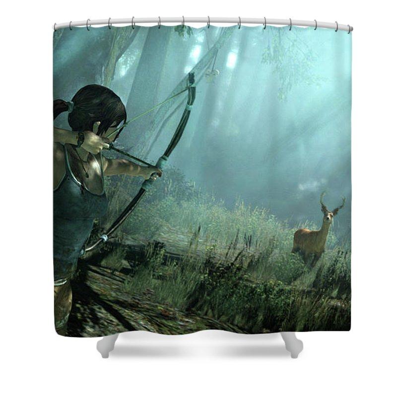 Tomb Raider Shower Curtain Featuring The Digital Art By Eloisa Mannion