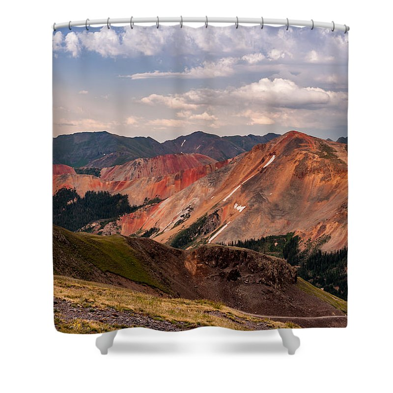 Jay Stockhaus Shower Curtain featuring the photograph Top Of The World by Jay Stockhaus
