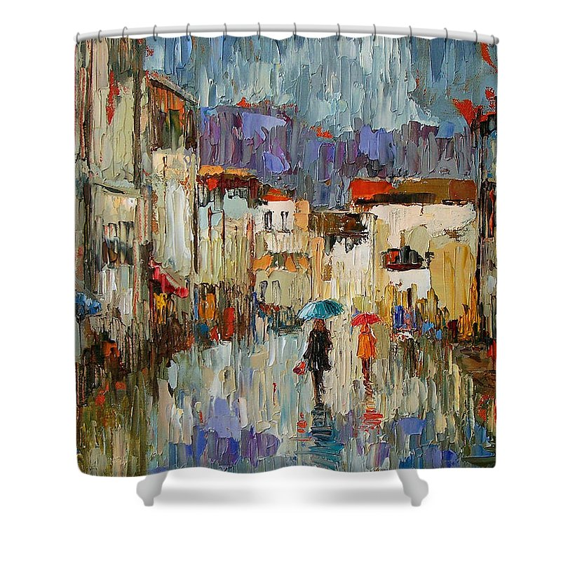 Impressionist Shower Curtain featuring the painting Tourists by Debra Hurd
