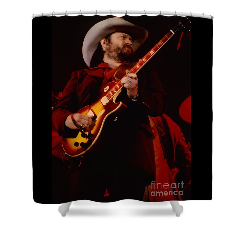 Concert Photos For Sale Shower Curtain featuring the photograph Toy Caldwell Of Themarshall Tucker Band At The Cow Palace by Daniel Lars of The Marshall Tucker Band at The Cow Palaceen