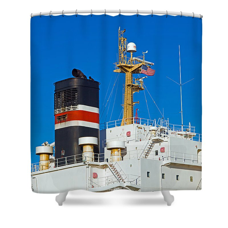 Cape; Canaveral; Port; Florida; Atlantic; Ship; Boat; Freight; Freighter; Bulk; Coal; Unloading; Loa Shower Curtain featuring the photograph Tramp Steamer Unloading Coal At Port Canaveral In Florida by Allan Hughes