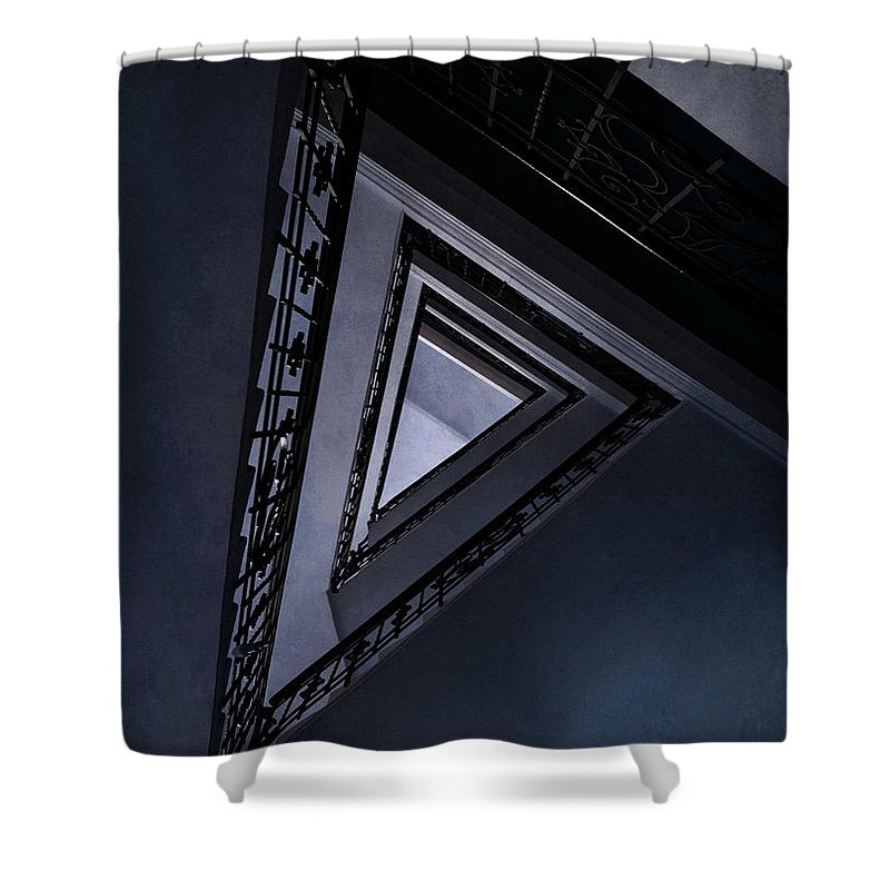 Architecture Shower Curtain featuring the photograph Triangle Staircase by Jaroslaw Blaminsky