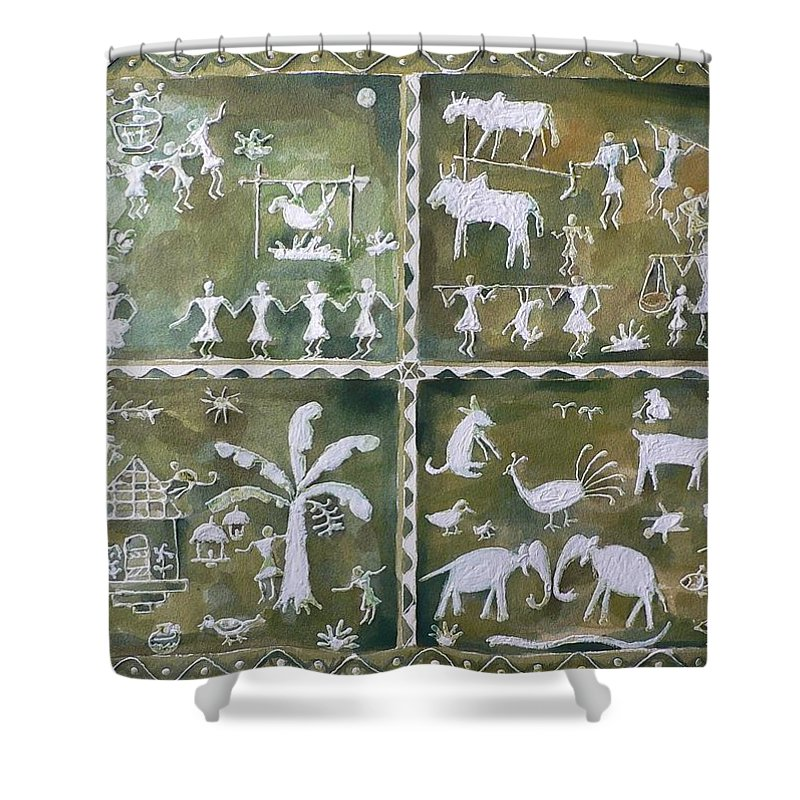 Water Color Shower Curtain featuring the painting Tribal Art by Geeta Biswas