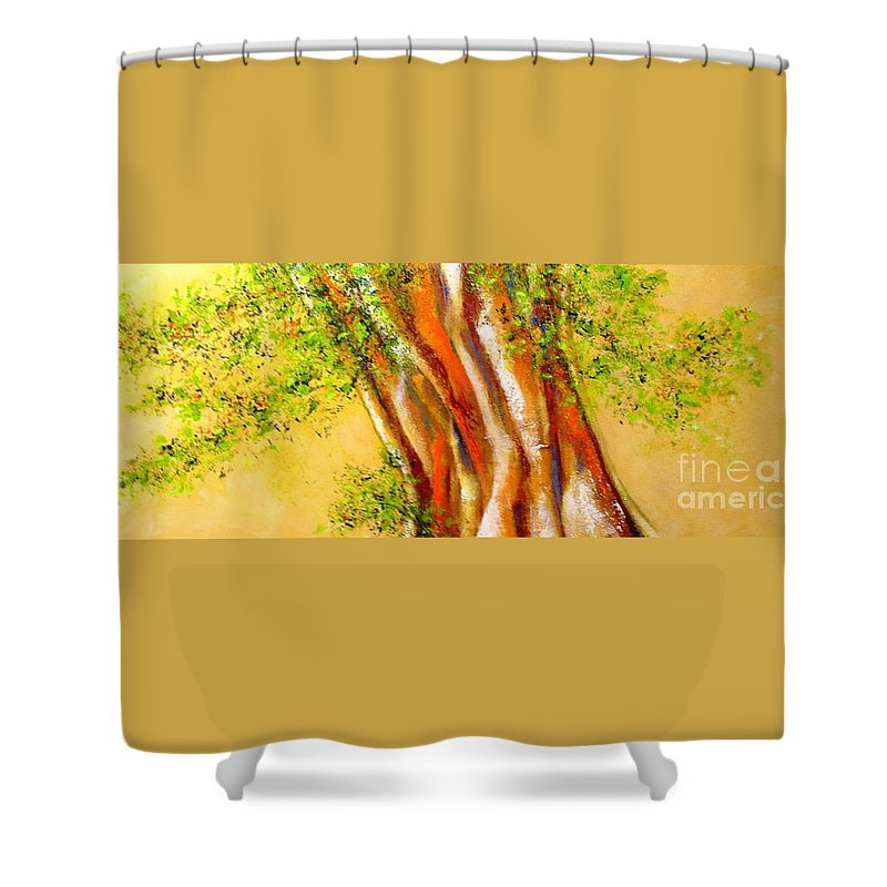 Tree Shower Curtain featuring the painting Troncos by Fernanda Cruz