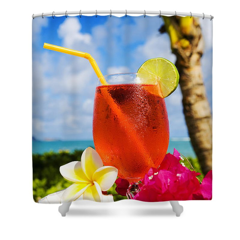 Bar Shower Curtain featuring the photograph Tropical Cocktail by Tomas del Amo - Printscapes