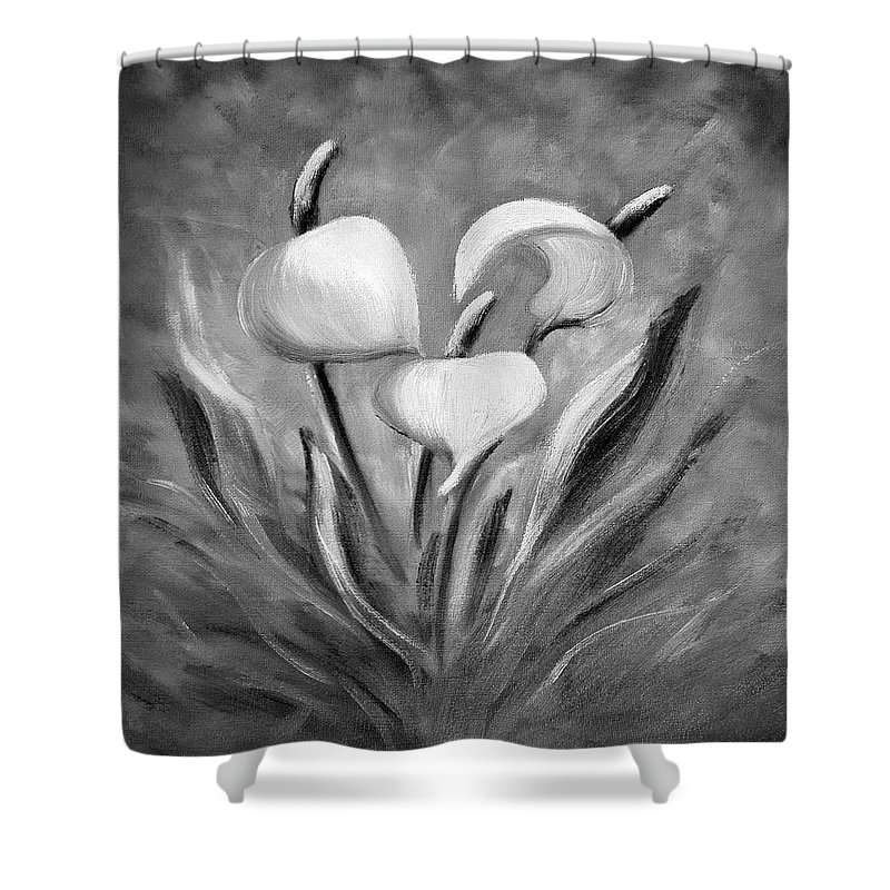 Tropical Shower Curtain featuring the painting Tropical Flowers In Black And White by Gina De Gorna
