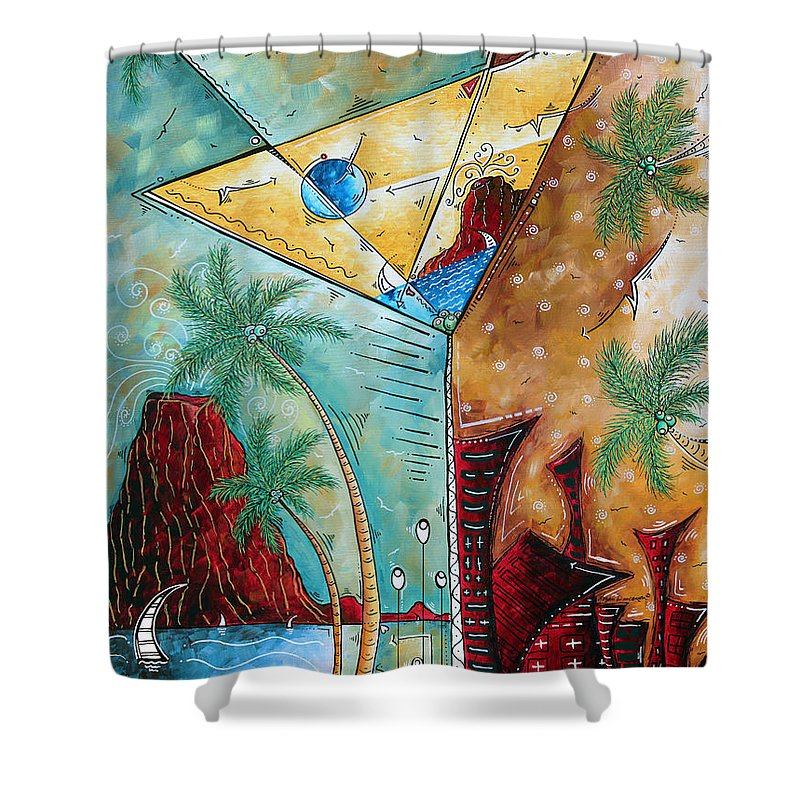 Tropical Shower Curtain Featuring The Painting Martini Original Fun Pop Art Style By Megan