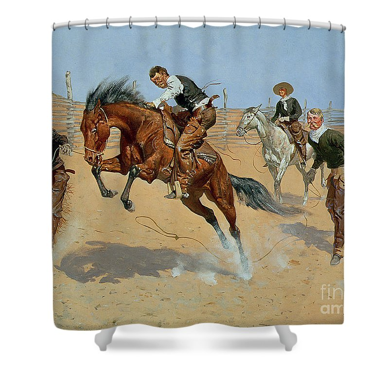 Turn Him Loose Shower Curtain featuring the painting Turn Him Loose by Frederic Remington