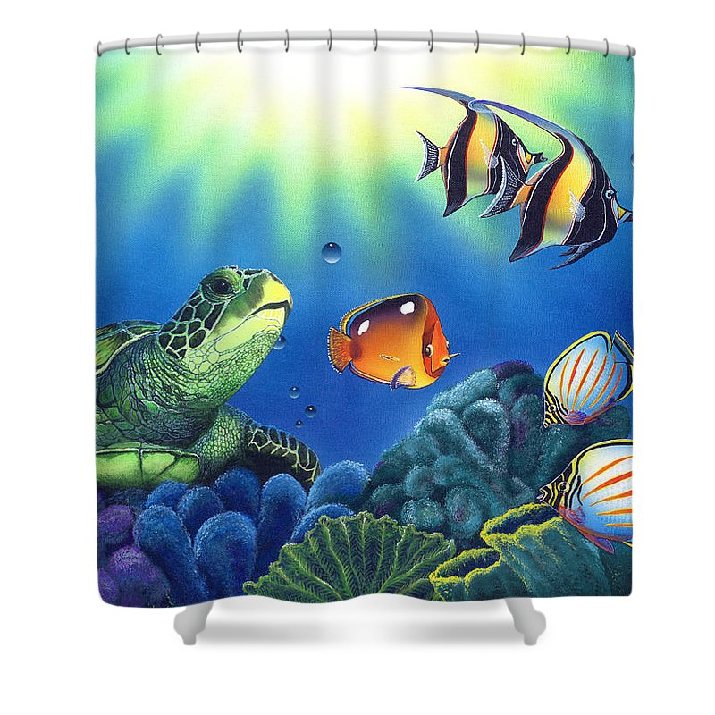 Turtle Shower Curtain featuring the painting Turtle Dreams by Angie Hamlin