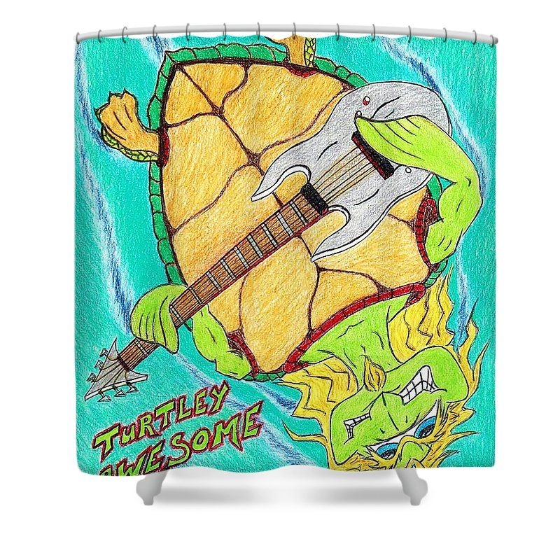 Turtles Shower Curtain featuring the drawing Turtley Awesome by Bryant Lamb