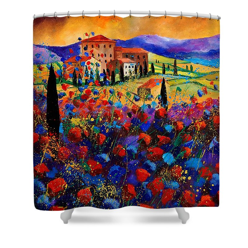 Flowers Shower Curtain featuring the painting Tuscany Poppies by Pol Ledent
